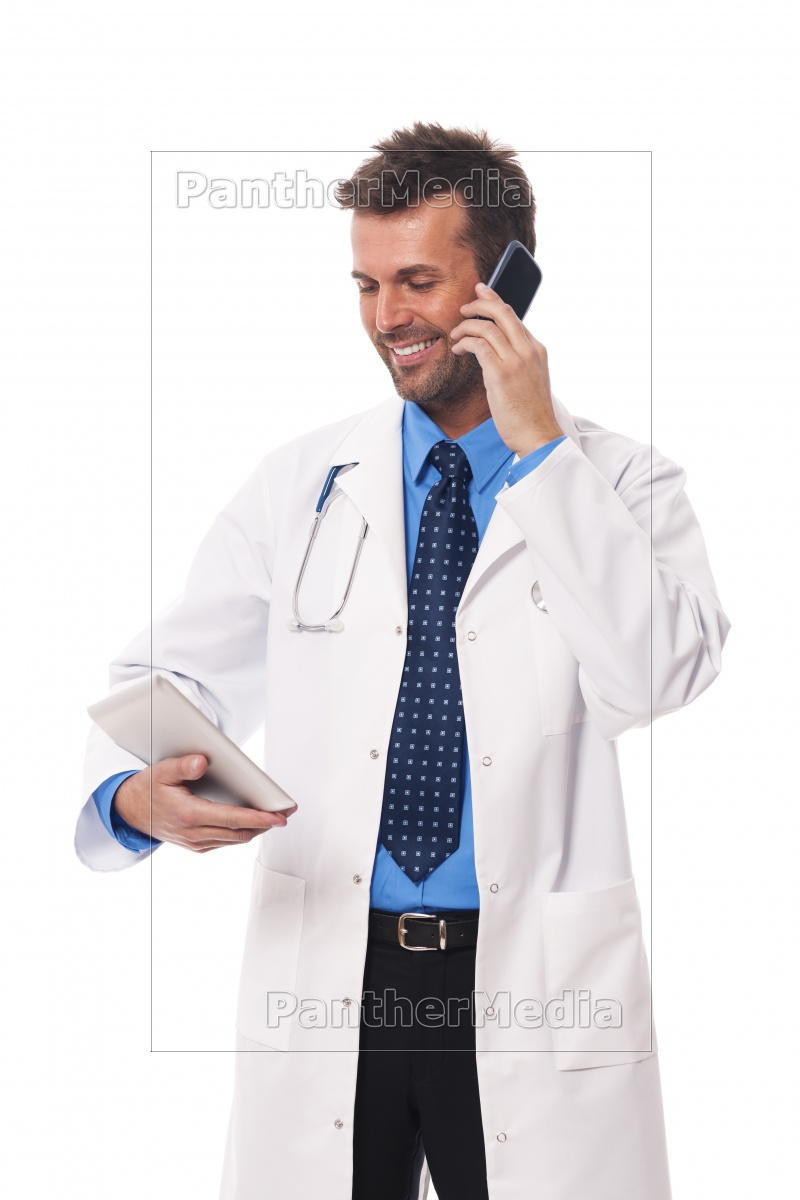 doctor, with, mobile, phone, checking, something - 12115760