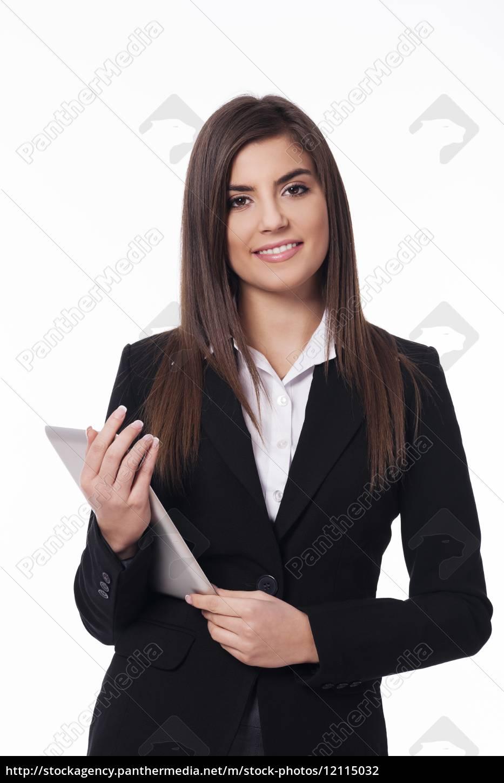 portrait, of, happy, woman, with, digital - 12115032