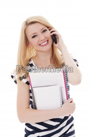 blonde student with mobile phone