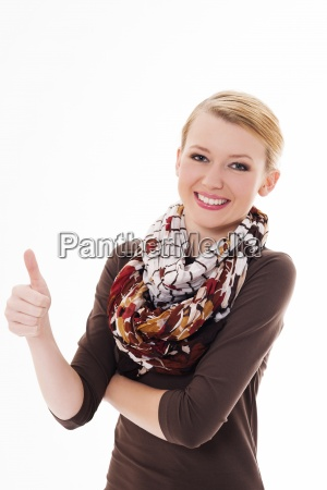 beautiful young woman with thumbs up
