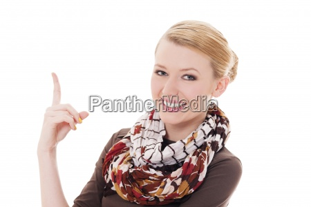 gorgeous woman pointing at something
