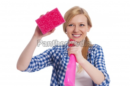 young blonde female holding a cleaning