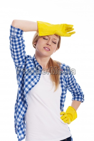 tired woman wearing a protective glove