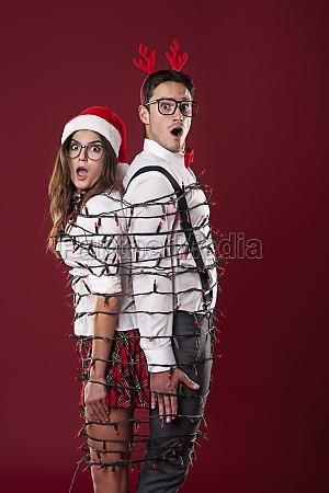 divertente, coppia, nerd, sono, aggrovigliati, in - 12116974
