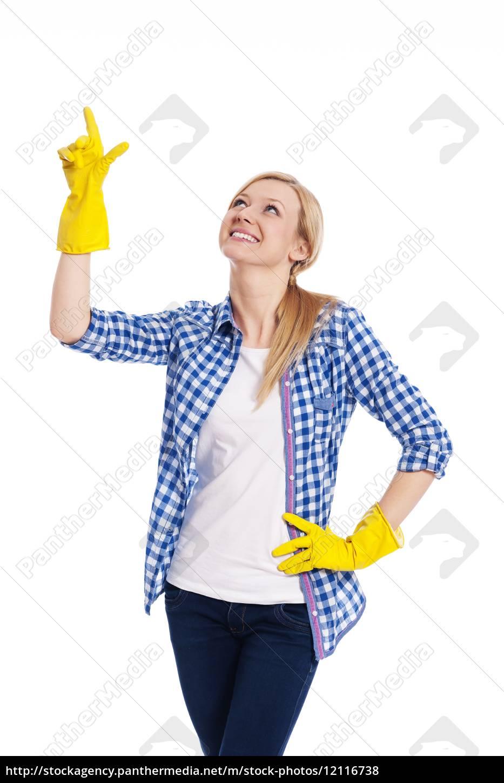 pulizia, femminile, sorridente, che, punta, verso - 12116738