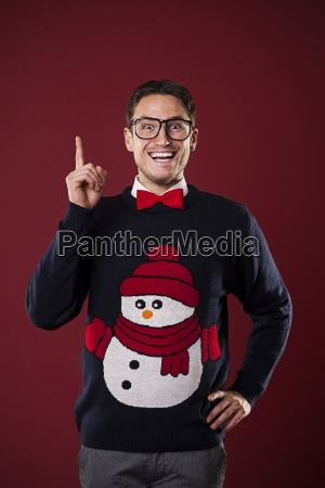 funny nerdy man wearing sweater with