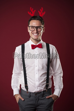 portrait of smiling nerdy man with