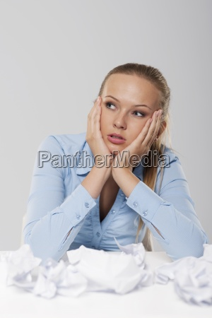 portrait of boring blonde businesswoman with
