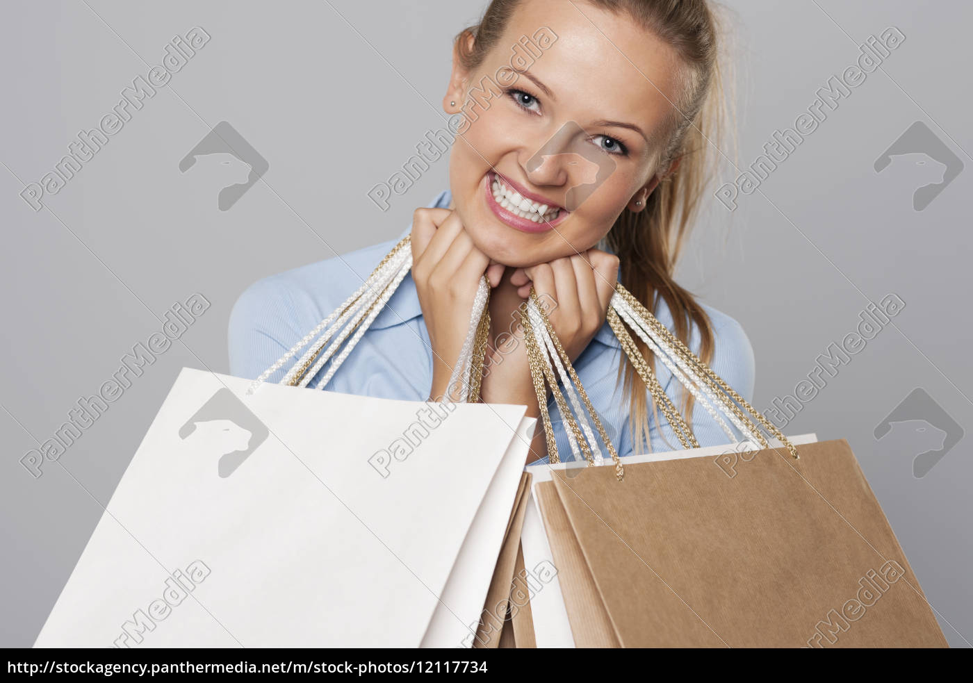 smiling, blonde, woman, with, eco, shopping - 12117734