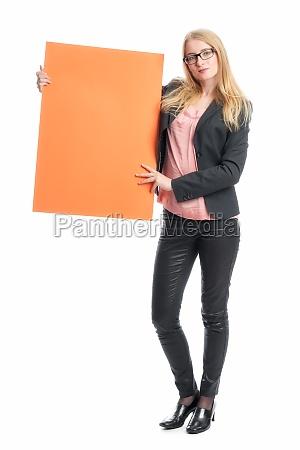woman with billboard