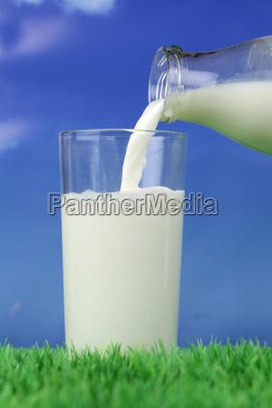 versare il latte in un bicchiere