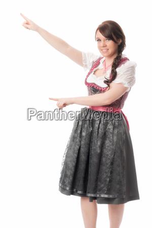 bavarian girl pointing a finger