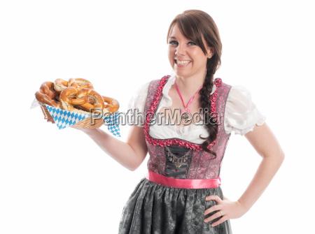 bavarian girl with pretzels