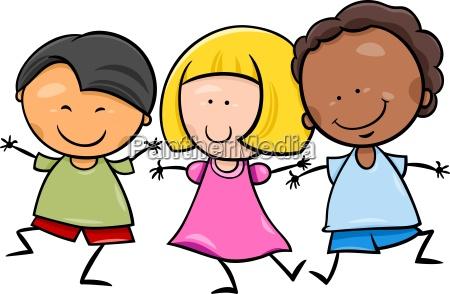 illustrazione multiculturale del fumetto dei bambini