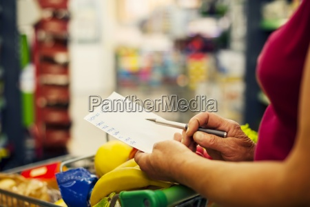close up of shopping list