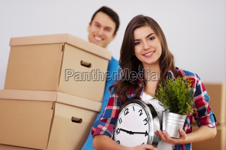 young couple moving in their home