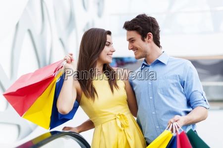 conversing couple on shopping