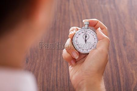 cronometro, in, mano, femminile - 12392734