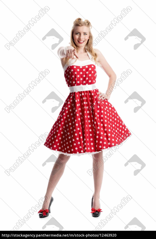 donna, giubilante, in, stile, rockabilly - 12463920
