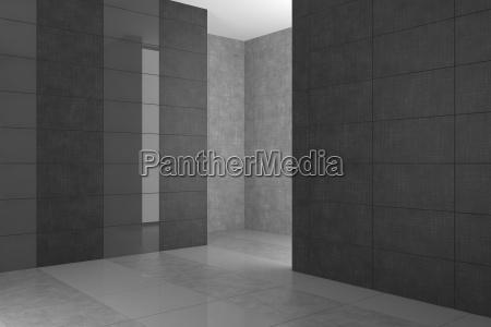 bagno moderno vuoto con piastrelle grigie