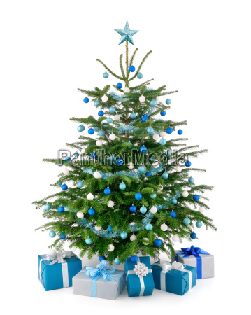 stylish christmas tree with gifts