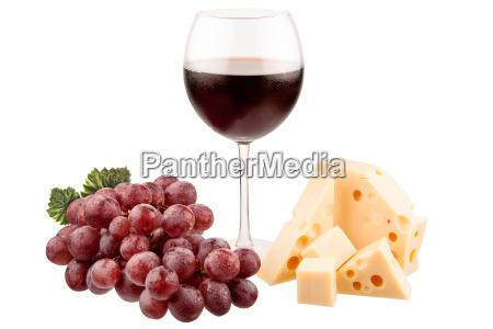 vino con uva e formaggio