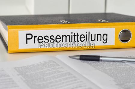 cartella file con il comunicato stampa