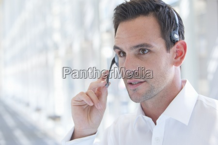 close up of serious businessman wearing