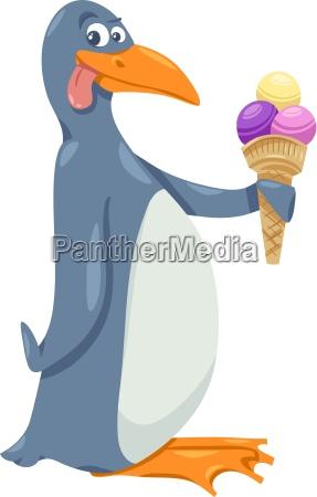 pinguino con gelato cartoni animati
