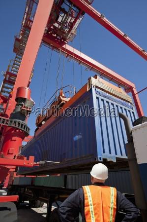 lavoratore a guardare gru carico container