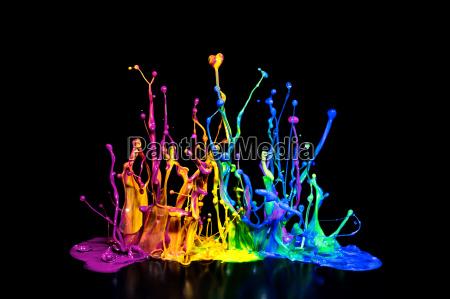 schizzi di vernice colorata su un