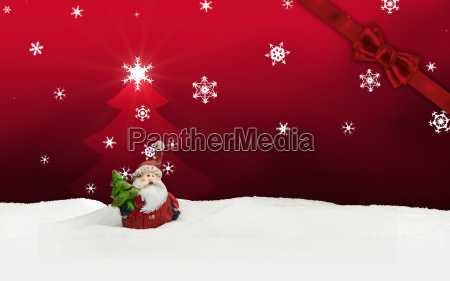 greeting card santa clause snow red