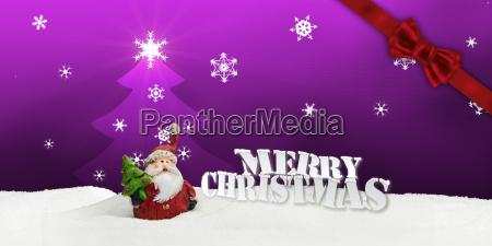 greeting card santa clause snow pink