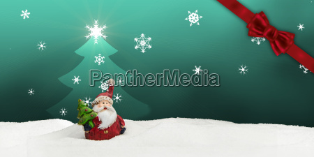 greeting card santa clause snow turquoise
