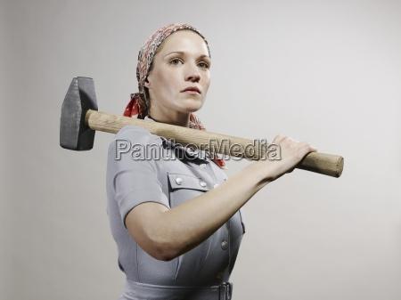 donna donne femminile industria uniforme orizzontale