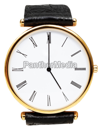 five oclock on dial of wristwatch