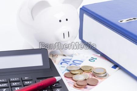 fornitura calcolatrice tascabile salvadanaio archiviare spesa
