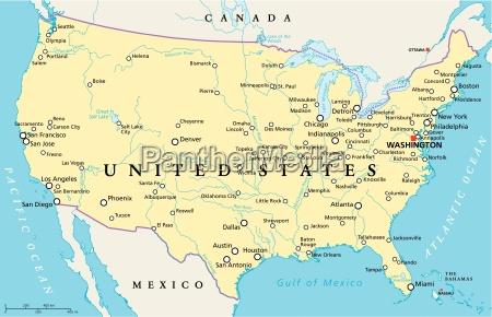 mappa politica degli stati uniti damerica