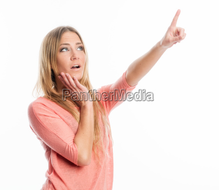 woman pointing a finger