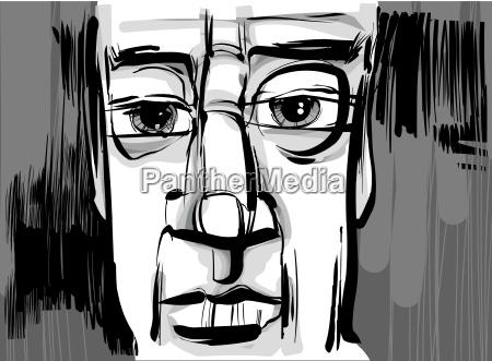 uomo faccia illustrazione disegno artistico