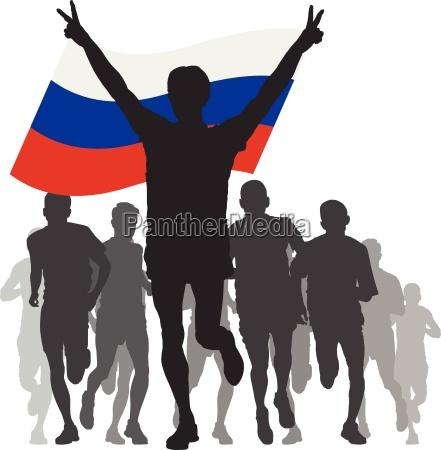 vincitore con la bandiera russa al