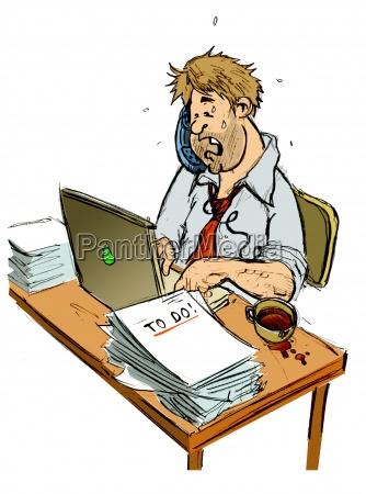 telefono ufficio fumetto caos affare affari