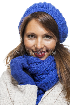 attractive pretty young woman with blue