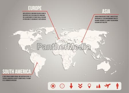 mappa world infografica con varie icone