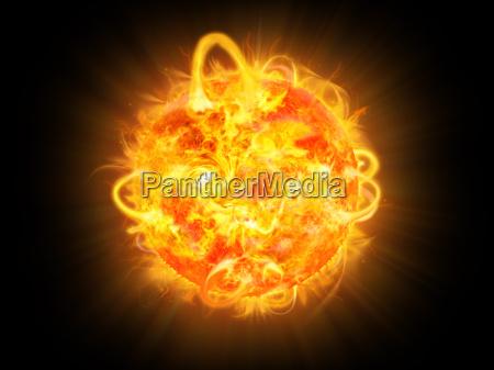 illustrazione dellesplosione solare e fantasia spaziale