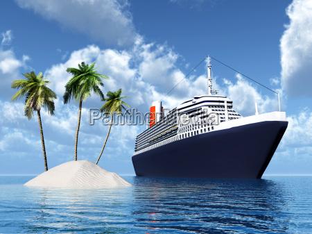 isola e nave da crociera