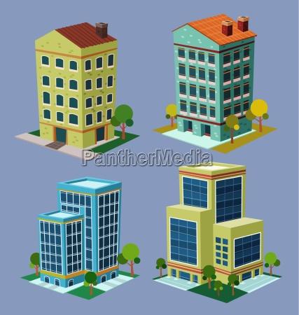 vario stile cartone animato edificio isometrica