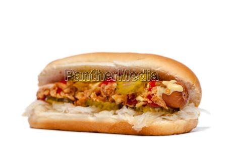 hotdog hot dog davanti al bianco