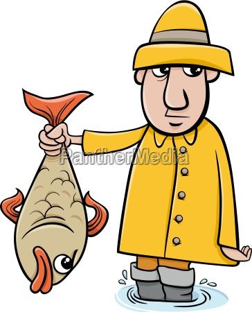 pescatore con il fumetto di pesce