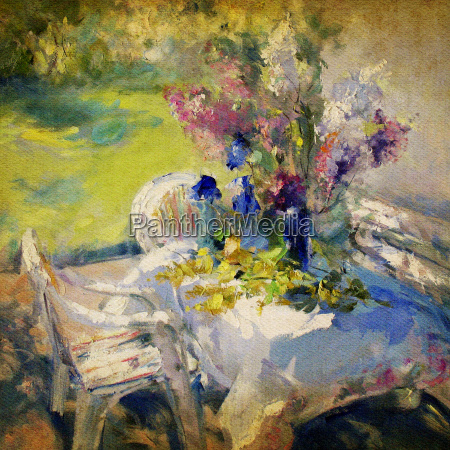 painting garden flowers canvas